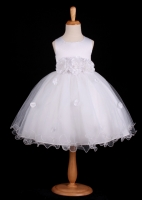F12 White Flower Petals Dress With Ruffled Hem